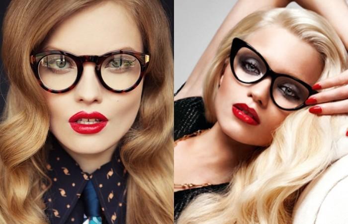 Блондинка с челкой в очках