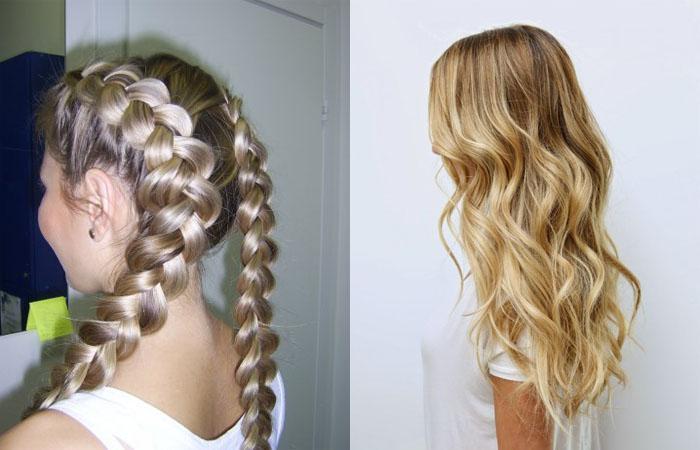 Как сделать волнистые волосы с помощью косичек 859