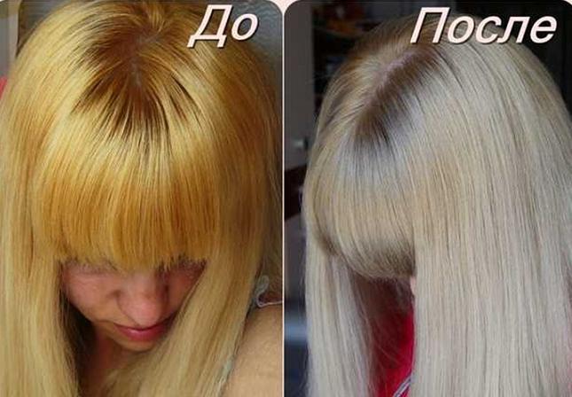 убрать желтизну волос тонированием
