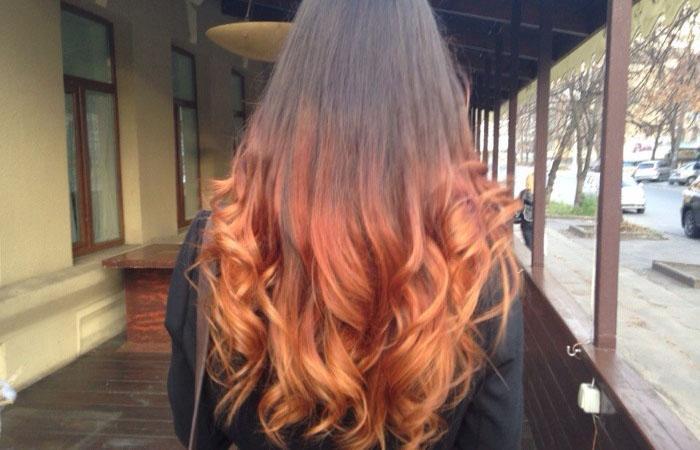 кончики волос рыжего цвета фото