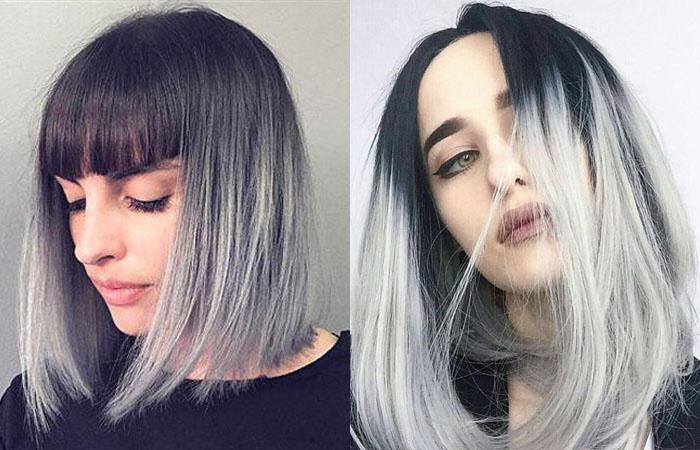 омбре на чёрные короткие волосы фото