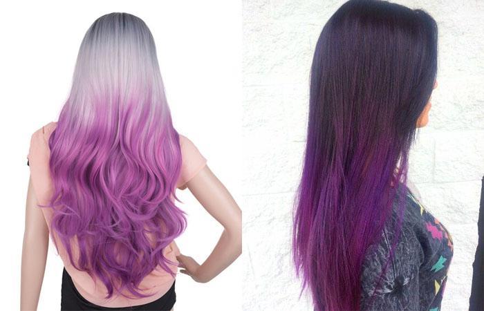 Фиолетовое омбре на русые волосы
